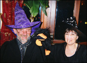 President Roger Frank and partner entering into the spirit of things on a Halloween fundraising event