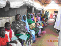 Some of the 2.1 million displaced people in the Darfur region of Sudan waiting for medicine or treatment at MSF clinic.