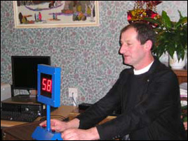 "10 December 2009. Our ""Vicar"" Lawrence tries the ""Guess My Age"" machine"