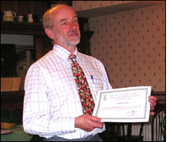 11 May 2010. Certificate of Honour for Roger Frank