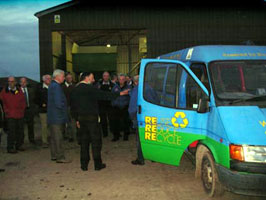 Jonty Rostron demonstrates the use of bio-diesel in the Newton Rigg