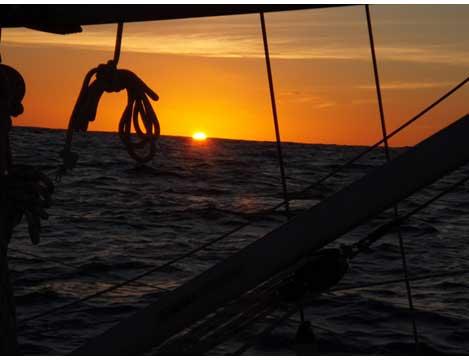 David Caldow sailing the Atlantic